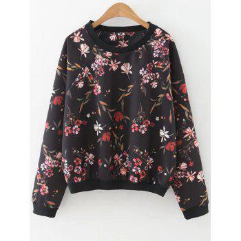 Printed Raglan Sleeve Sweatshirt - BLACK L