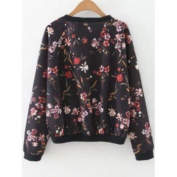 Printed Raglan Sleeve Sweatshirt - BLACK S