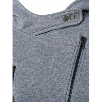 Inclined Zipper Buttoned Hoodie - S S
