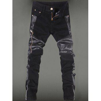 Pocket Rivet Zippered Leather Paneled Pants