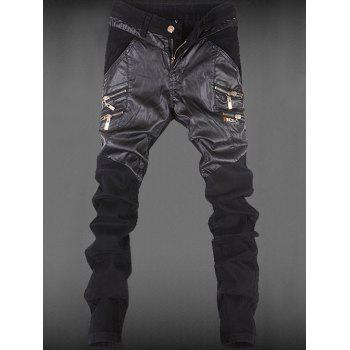 Leather Patchwork Zippered Pocket Rivet Tapered Pants