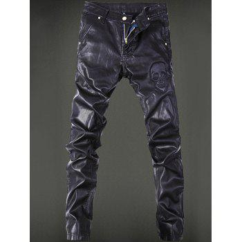 Zippered Skull Pattern Pocket Rivet Faux Leather Pants