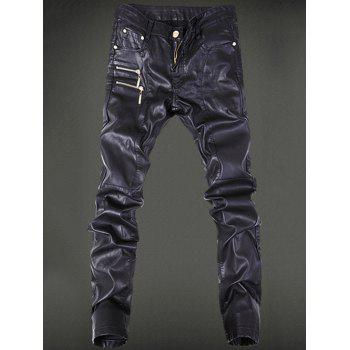 Zippered Five-Pocket Faux Leather Pants