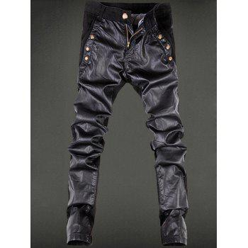 Zipper Fly Rivet Embellished Faux Leather Pencil Pants
