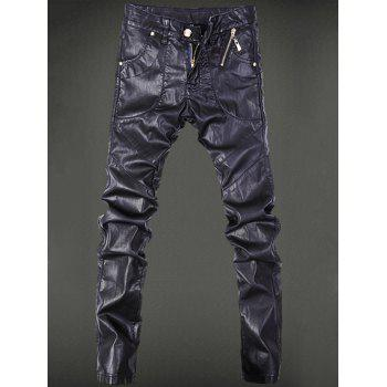 Zippered Pocket Rivet Narrow Feet Faux Leather Pants