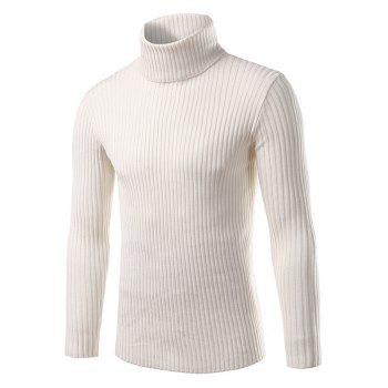 Turtle Neck Vertical Stripe Long Sleeve Slimming Sweater