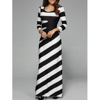 Maxi Striped Cocktail Party Dress with Sleeves