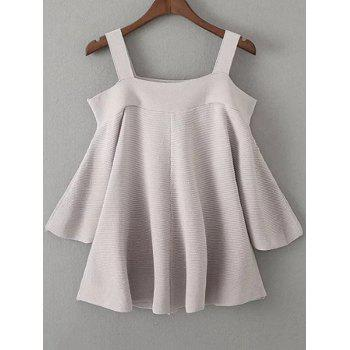 Cold Shoulder Knitted T-Shirt - GRAY ONE SIZE