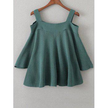 Cold Shoulder Knitted T-Shirt - BLACKISH GREEN ONE SIZE
