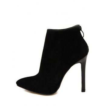 Zip Pointed Toe Ankle Boots - 38 38