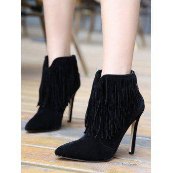V-Shape Zipper Fringe Ankle Boots - 38 38