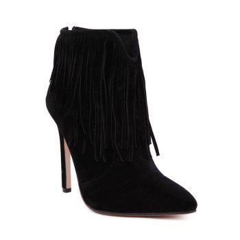 V-Shape Zipper Fringe Ankle Boots - BLACK 38
