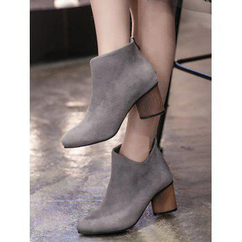 Pointed Toe V-Shape Zipper Ankle Boots - GRAY 38