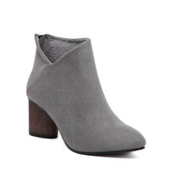 Pointed Toe V-Shape Zipper Ankle Boots - GRAY GRAY