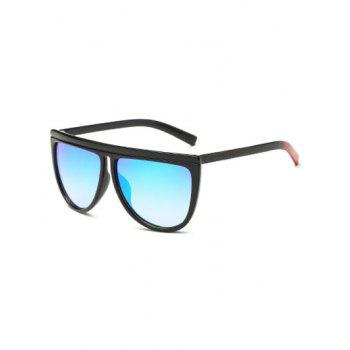 Streetwear Color Block Leg Oversized Mirrored Sunglasses - ICE BLUE ICE BLUE