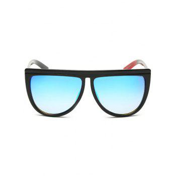 Streetwear Color Block Leg Oversized Mirrored Sunglasses -  ICE BLUE