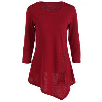 Pure Color Button Asymmetric Blouse
