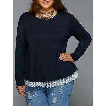 Lace Spliced Pullover Plus Size Tee