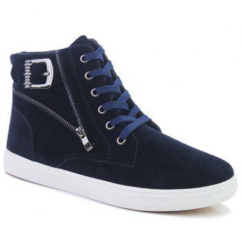 Buckle Strap Zipper Casual Shoes - DEEP BLUE 44