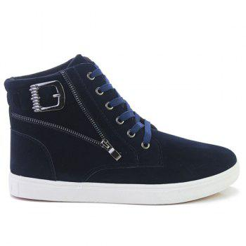 Buckle Strap Zipper Casual Shoes - DEEP BLUE 41