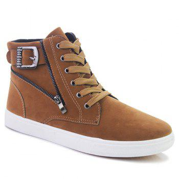 Buckle Strap Zipper Casual Shoes - BROWN 43