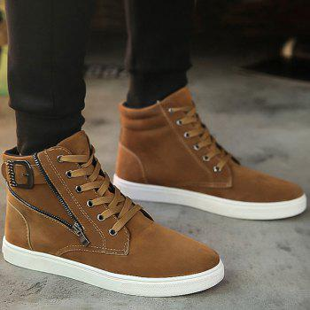 Buckle Strap Zipper Casual Shoes - BROWN 41
