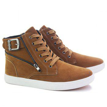 Buckle Strap Zipper Casual Shoes - BROWN 40