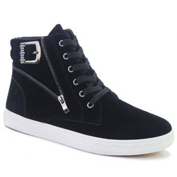 Buckle Strap Zipper Casual Shoes - BLACK 44