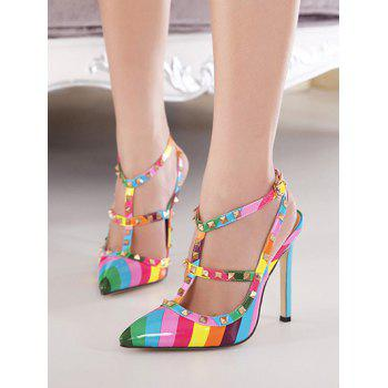 Rivets Colour Block  Striped Pattern Pumps - 37 37