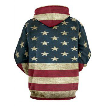 Distressed American Flag Color Panel Pullover Hoodie - DEEP BLUE 3XL