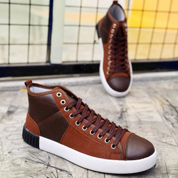 Suede Lace-Up Splicing Casual Shoes - BROWN 44