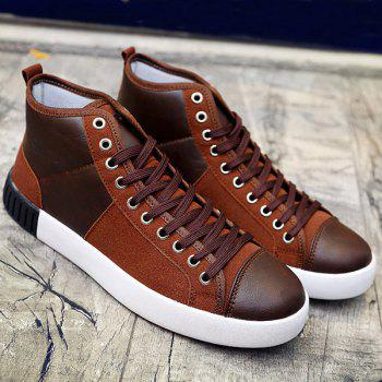 Suede Lace-Up Splicing Casual Shoes - BROWN BROWN