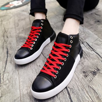 Suede Lace-Up Splicing Casual Shoes - BLACK 44