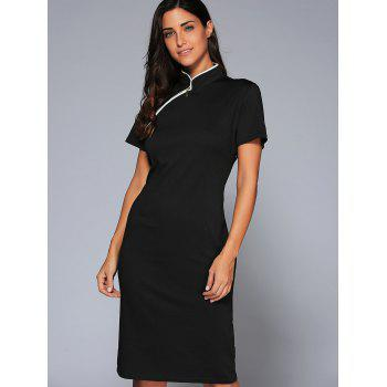 Mandarin Collar Midi Vintage Sheath Dress - BLACK XL