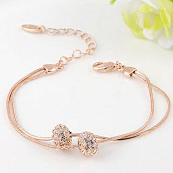 Double Beads Rhinestone Layered Chain Bracelet - ROSE GOLD