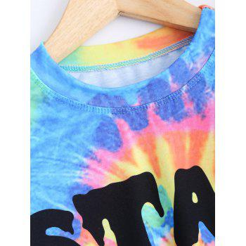 Round Neck Short Sleeve Printed Crop Top - COLORMIX L