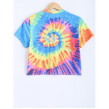 Round Neck Short Sleeve Printed Crop Top - COLORMIX XL