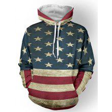 Distressed American Flag Color Panel Pullover Hoodie