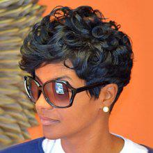 Short Oblique Bang Fluffy Curly Human Hair Capless Wig