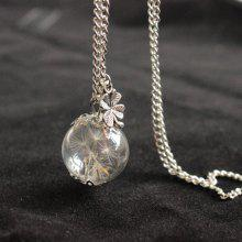 Dandelion Glass Ball Clover Necklace