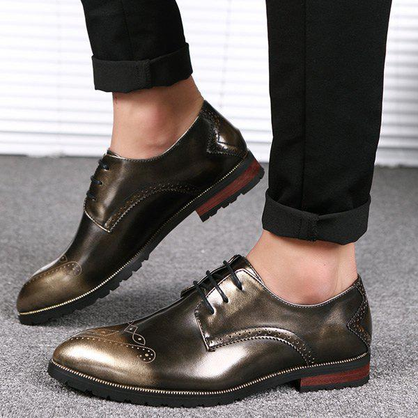 Pointed Toe Tie Up Gravure Formal Shoes - Or 42