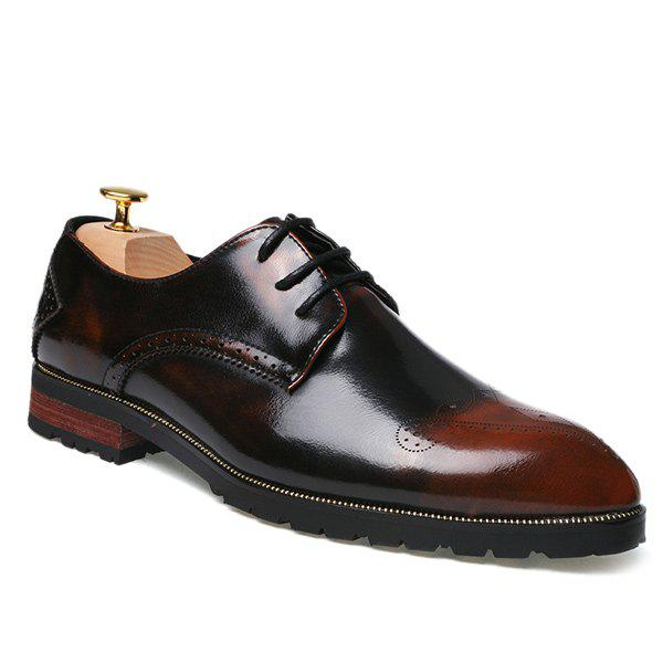 Pointed Toe Tie Up Engraving Formal Shoes - BROWN 41