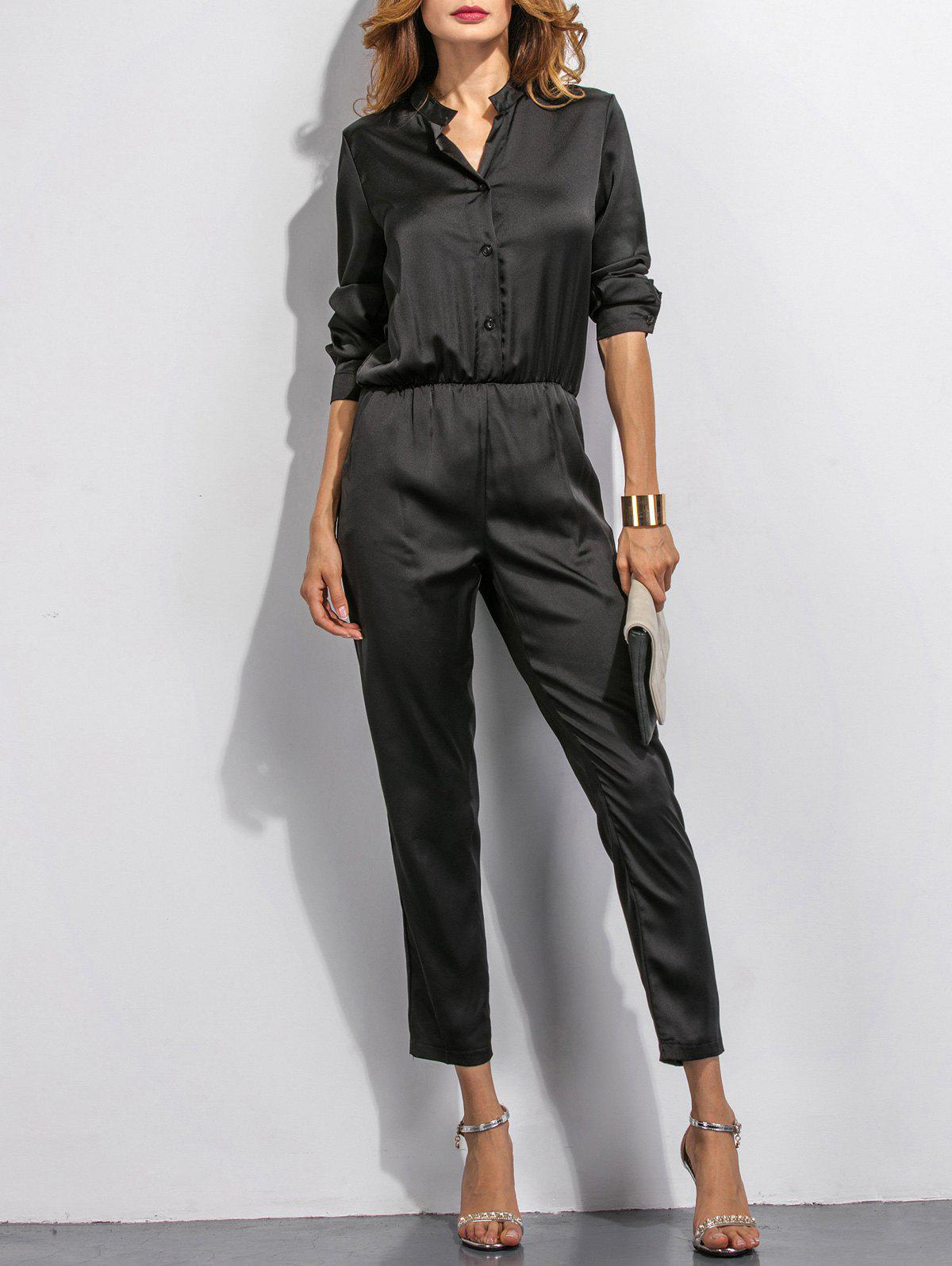 Buttoned High Waist Long Sleeves Jumpsuit - BLACK S