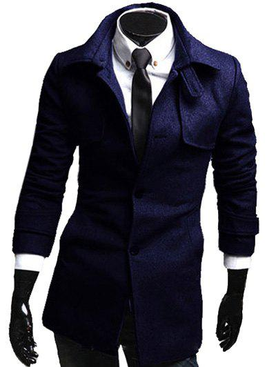 Lengthen Single Breasted Turn-Down Collar Long Sleeve Woolen Coat - CADETBLUE XL