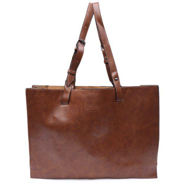 Laconic Style Solid Color and PU Leather Design Shoulder Bag For Women - BROWN