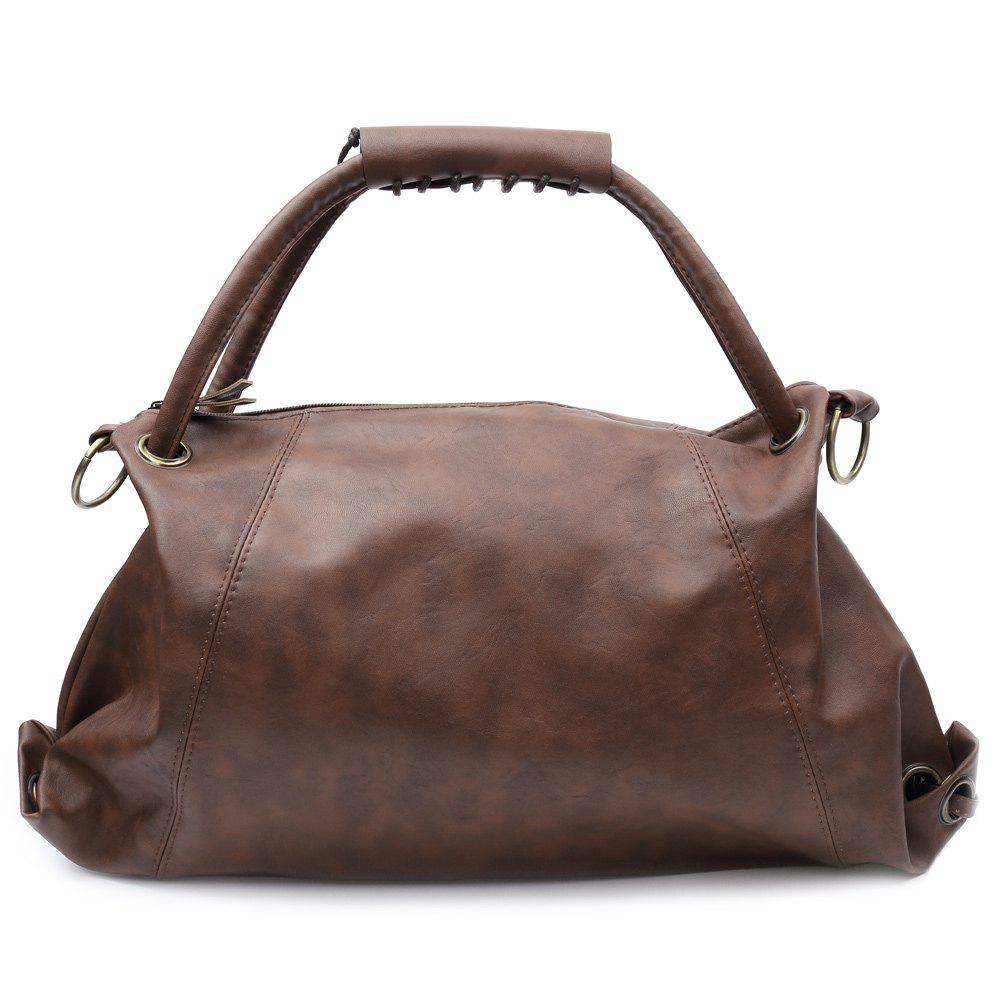 Stylish PU Leather and Solid Color Design Shoulder Bag For Women - COFFEE