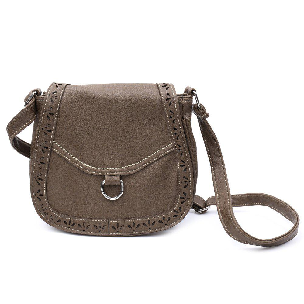 Vintage Openwork and Solid Color Design Crossbody Bag For Women - COFFEE