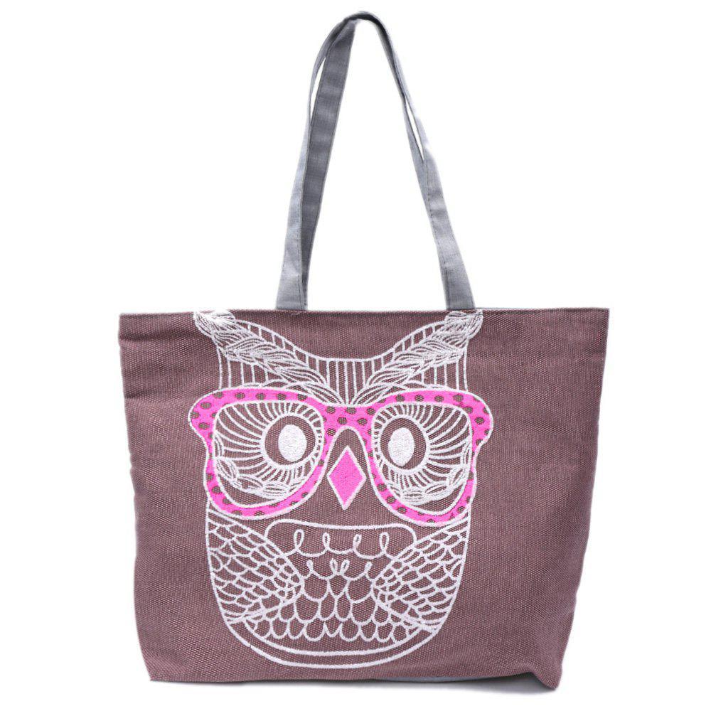Casual Owl Pattern and Canvas Design Shoulder Bag For Women