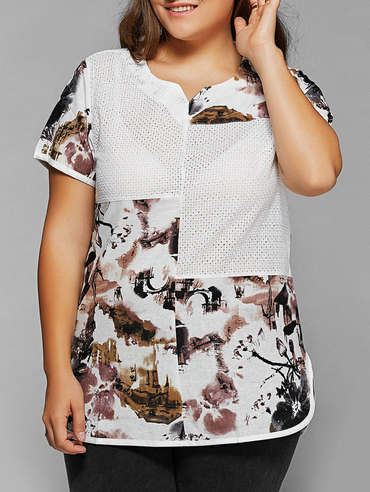 Plus Size Ink Painting Print Spliced Asymmetrical T-Shirt f flach psychotherapy