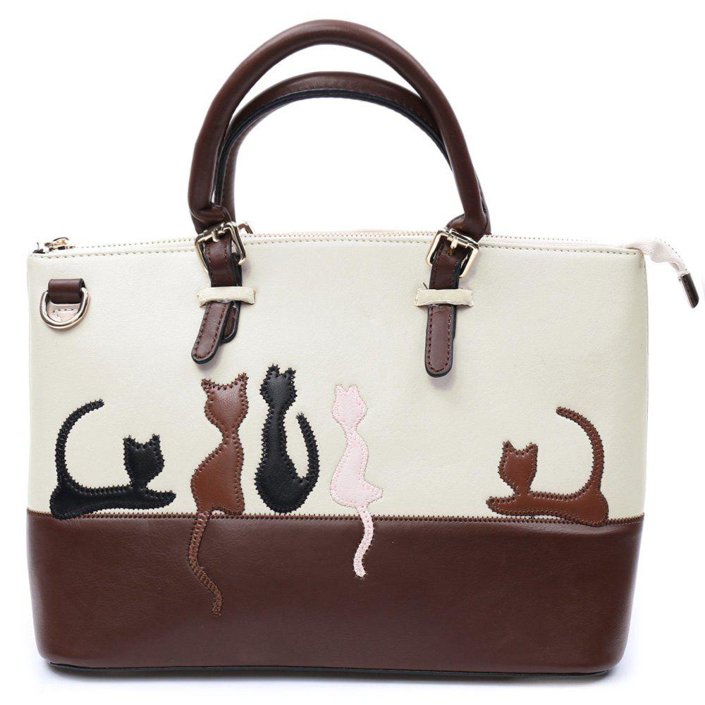 Ladylike Animal Pattern and Color Block Design Tote Bag For Women - APRICOT